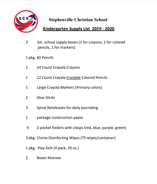 Kindergarten List