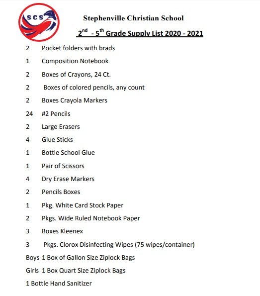 Supply List 2-5th Grade