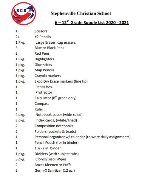 Supply List 6-12th Grade