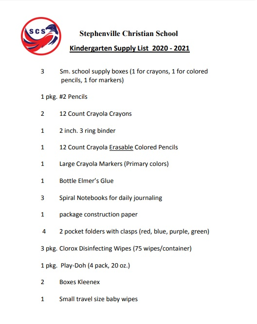 Supply List Kindergarten